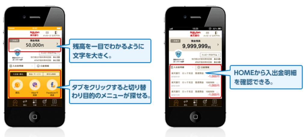 5.楽天銀行アプリが抜群に見やすく使いやすい