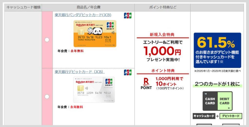 手順⑤:キャッシュカードの種類を選択しましょう【重要】